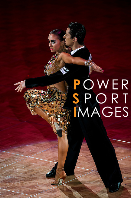 Charles-Guillaume Schmitt and Elena Salikhova of France during the WDSF GrandSlam Latin on the Day 1 of the WDSF GrandSlam Hong Kong 2014 on May 31, 2014 at the Queen Elizabeth Stadium Arena in Hong Kong, China. Photo by AItor Alcalde / Power Sport Images