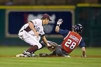 Shortstop Adam Smith #20 of the Texas A&M Aggies puts the tag on Caleb Ramsey #28 of the Houston Cougars at second base in the 2009 Houston College Classic at Minute Maid Park March 1, 2009 in Houston, TX.  The Aggies defeated the Cougars 5-3. (Photo by Brian Westerholt / Four Seam Images)