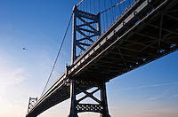 Benjamin Franklin Bridge connecting Philadelphia and Camden, New Jersey, USA