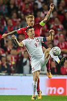 01.09.2017, Kopenhaga, pilka nozna, Dania - Polska, kwalifikacje Mistrzostw Swiata 2018, Robert Lewandowski (POL), Simon Kjaer (DEN), World Cup 2018 qualifier Denmark - Poland, fot. Tomasz Jastrzebowski / Foto Olimpik<br /><br />POLAND OUT !!!! *** Local Caption *** +++ POL out!! +++