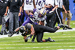 Washington Huskies fullback Lavon Coleman (22) in action during the Zaxby's Heart of Dallas Bowl game between the Washington Huskies and the Southern Miss Golden Eagles at the Cotton Bowl Stadium in Dallas, Texas.
