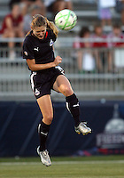 Jill Gilbeau #3 of the Washington Freedom heads the ball down during a WPS match against the Boston Breakers at Maryland Soccerplex on July 29, in Boyds, Maryland.Freedom won 1-0.