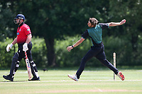 D Carter in bowling action for Harold Wood during Hornchurch CC vs Harold Wood CC, Hamro Foundation Essex League Cricket at Harrow Lodge Park on 5th June 2021