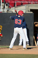 Nate Eikhoff (63) of Patriot High School in Nokesville, Virginia playing for the Atlanta Braves scout team at the South Atlantic Border Battle at Doak Field on November 2, 2014.  (Brian Westerholt/Four Seam Images)