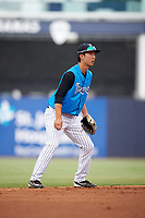 Tampa Tarpons shortstop Hoy Jun Park (1) during the first game of a doubleheader against the Lakeland Flying Tigers on May 31, 2018 at George M. Steinbrenner Field in Tampa, Florida.  Tampa defeated Lakeland 3-0.  (Mike Janes/Four Seam Images)