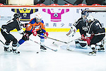 Justin Yiu (2nd from left) of Principal fights for the puck with Gaggia Empire's players Reece Tong (l), Terence Chim (r) and goalie Rex Kong during the Principal Standard League match between Gaggia Empire vs Principal at the Mega Ice on 29 November 2016 in Hong Kong, China. Photo by Marcio Rodrigo Machado / Power Sport Images