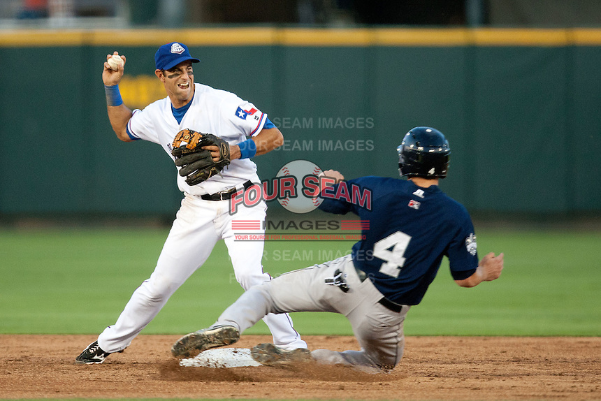 Round Rock Express second baseman Matt Kata #15 turns a double play during the Pacific Coast League baseball game against the New Orleans Zephyrs on April 30, 2012 at The Dell Diamond in Round Rock, Texas. The Zephyrs defeated the Express 5-3. (Andrew Woolley / Four Seam Images)