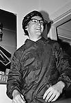 Ian MacKaye of Minor Threat in wig and glasses at Dischord House, Arlington VA, spring 1982.