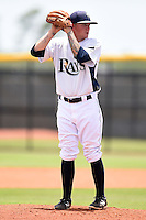 GCL Rays pitcher Nick Sawyer (28) gets ready to deliver a pitch during a game against the GCL Red Sox on June 24, 2014 at Charlotte Sports Park in Port Charlotte, Florida.  GCL Red Sox defeated the GCL Rays 5-3.  (Mike Janes/Four Seam Images)