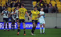 Julian Savea celebrates his try during the Super Rugby Tran-Tasman match between the Hurricanes and Rebels at Sky Stadium in Wellington, New Zealand on Friday, 21 May 2020. Photo: Dave Lintott / lintottphoto.co.nz