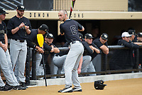 Jake Mueller (6) of the Wake Forest Demon Deacons gets ready to take on the West Virginia Mountaineers in Game Six of the Winston-Salem Regional in the 2017 College World Series at David F. Couch Ballpark on June 4, 2017 in Winston-Salem, North Carolina.  The Demon Deacons defeated the Mountaineers 12-8.  (Brian Westerholt/Four Seam Images)