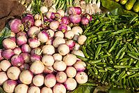India, Dehradun.  Turnips, Okra, and Onions in the Market.
