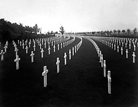 Aisne-Marne American Cemetery, Belleau, France.  View of Block B, showing marble crosses.  The crosses follow the conformity of the hillside at Aisne-Marne and produce a pleasing effect.  1928.  (American Battle Monuments Commission)<br />Exact Date Shot Unknown<br />NARA FILE #:  117-MP-3-7<br />WAR & CONFLICT BOOK #:  706