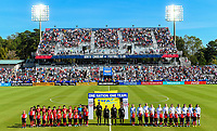 Cary, NC - Sunday October 22, 2017: USWNT and South Korea starting eleven's  during an International friendly match between the Women's National teams of the United States (USA) and South Korea (KOR) at Sahlen's Stadium at WakeMed Soccer Park.