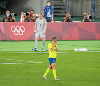 YOKOHAMA, JAPAN - AUGUST 6: Anna Anvegard #19 of Sweden reacts to a missed penalty kick during a game between Canada and Sweden at International Stadium Yokohama on August 6, 2021 in Yokohama, Japan.