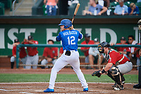 Niko Hulsizer (12) of the Ogden Raptors bats against the Great Falls Voyagers at Lindquist Field on August 21, 2018 in Ogden, Utah. Great Falls defeated Ogden 14-5. (Stephen Smith/Four Seam Images)