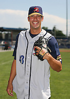 2007:  Dustin Molleken of the State College Spikes poses for a photo prior to a game vs. the Batavia Muckdogs in New York-Penn League baseball action.  Photo By Mike Janes/Four Seam Images