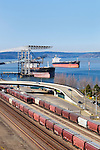 Grain Terminal and Rail Yard, Port of Tacoma, WA, as seen from the south shore and Foss Waterway.  Commencement Bay's history of industry and shipping has led it to designation as a Superfund Cleanup Site and one of the most polluted waterways in the nation.  Commencement Bay Nearshore/Tideflats (CB/NT) Superfund Site.  Publicly owned grain terminal.