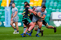 13th March 2021; Franklin's Gardens, Northampton, East Midlands, England; Premiership Rugby Union, Northampton Saints versus Sale Sharks; Coenie Oosthuizen of Sale Sharks is stopped on the charge
