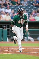 K.J. Woods (32) of the Greensboro Grasshoppers starts down the first base line after hitting a home run against the Greenville Drive at NewBridge Bank Park on August 17, 2015 in Greensboro, North Carolina.  The Drive defeated the Grasshoppers 5-4 in 13 innings.  (Brian Westerholt/Four Seam Images)