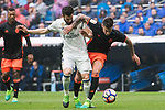 Santiago Mina Lorenzo, Santi Mina (r), of Valencia CF battles for the ball with Nacho Fernandez of Real Madrid during their La Liga match between Real Madrid and Valencia CF at the Santiago Bernabeu Stadium on 29 April 2017 in Madrid, Spain. Photo by Diego Gonzalez Souto / Power Sport Images