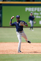 Charlotte Stone Crabs shortstop Lucius Fox (2) throws to first base for the out during a game against the Bradenton Marauders on June 3, 2018 at LECOM Park in Bradenton, Florida.  Charlotte defeated Bradenton 10-1.  (Mike Janes/Four Seam Images)
