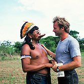 Capoto village, Brazil. Sting and Raoni, chief of the Megranoti-Kayapo; Xingu Indigenous area, Brazil; Nov 1990.