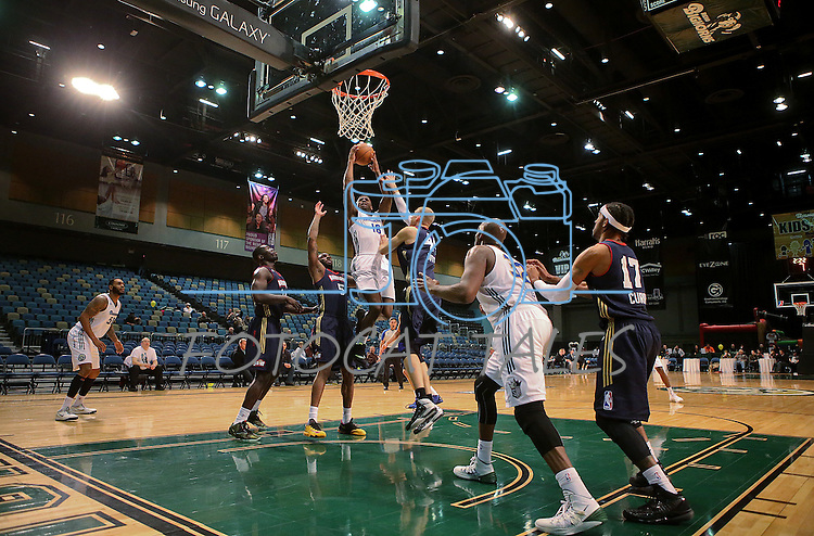 Reno Bighorns' DeQuan Jones takes a shot during a D-League basketball game against the Bakersfield Jam in Reno, Nev., on Tuesday, Jan. 14, 2014. The Bighorns won 93-85.<br /> Photo by Cathleen Allison