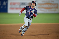 Salem Red Sox shortstop Chad De La Guerra (18) running the bases during the second game of a doubleheader against the Potomac Nationals on May 13, 2017 at G. Richard Pfitzner Stadium in Woodbridge, Virginia.  Potomac defeated Salem 3-2.  (Mike Janes/Four Seam Images)