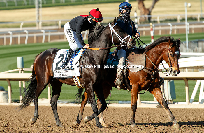 ARCADIA, CA  DEC 26: #2 Kiss Today Goodbye, ridden by Mike Smith, in the post of the San Antonio Stakes (Grade ll) on December 26, 2020 at Santa Anita Park in Arcadia, CA.<br />   (Photo by Casey Phillips/Eclipse Sportswire/CSM.)