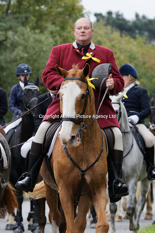 """Pictured: Byron John rides toward Margam Crematorium, Wales, UK. Monday 08 October 218<br /> Re: A grieving father will mourners on horseback at the funeral of his """"wonderful"""" son who killed himself after being bullied at school.<br /> Talented young horse rider Bradley John, 14, was found hanged in the school toilets by his younger sister Danielle.<br /> Their father, farmer Byron John, 53, asked the local riding community to wear their smart hunting gear at Bradley's funeral.<br /> Police are investigating Bradley's death at the 500-pupils St John Lloyd Roman Catholic school in Llanelli, South Wales.<br /> Bradley's family claim he had been bullied for two years after being diagnosed with Attention Deficit Hyperactivity Disorder.<br /> He went missing during lessons and was found in the toilet cubicle by his sister Danielle, 12."""