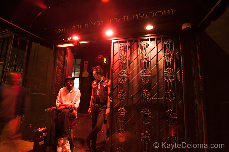 Two men at the entrance to the Burgundy Room on the Cahuenga Corridor in Hollywood, Los Angeles, CA
