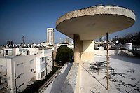 The roof of the Bauhaus style Zitter House at 6 Mendelsohn Street built by architect Gershon Stempler in 1937. Tel Aviv is known as the White City in reference to its collection of 4,000 Bauhaus style buildings, the largest number in any city in the world. In 2003 the Bauhaus neighbourhoods of Tel Aviv were placed on the UNESCO World Heritage List. .