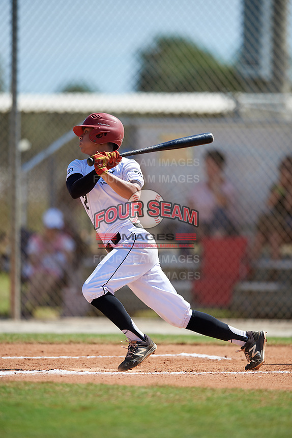 Miguel Santos during the WWBA World Championship at the Roger Dean Complex on October 20, 2018 in Jupiter, Florida.  Miguel Santos is a second baseman from Burleson, Texas who attends Centennial High School.  (Mike Janes/Four Seam Images)
