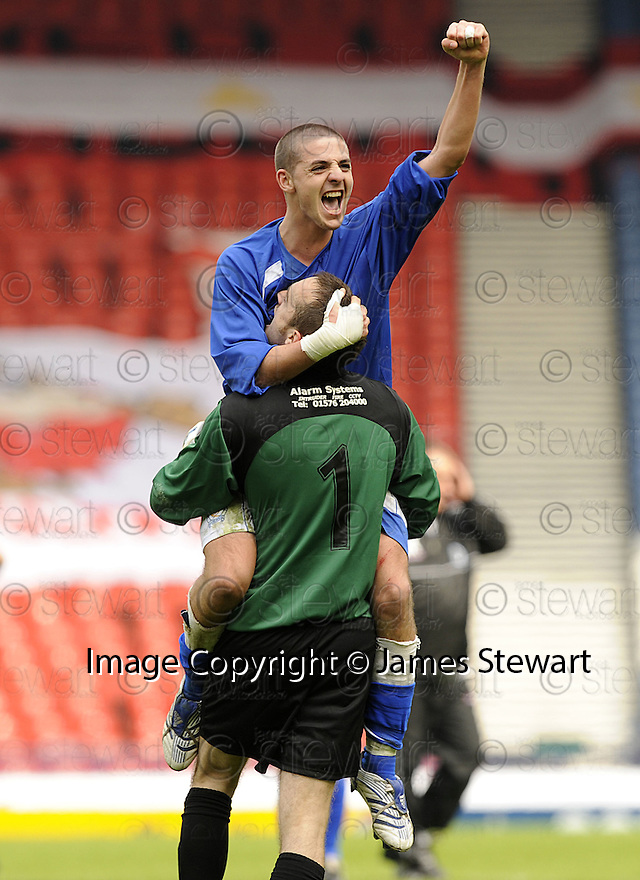 12/04/2008    Copyright Pic: James Stewart.File Name : sct_jspa30_qots_v_aberdeen.QUEEN OF THE SOUTH'S ROBERT HARRIS AND JAMIE MACDONALD CELEBRATE AT THE END OF THE GAME.James Stewart Photo Agency 19 Carronlea Drive, Falkirk. FK2 8DN      Vat Reg No. 607 6932 25.Studio      : +44 (0)1324 611191 .Mobile      : +44 (0)7721 416997.E-mail  :  jim@jspa.co.uk.If you require further information then contact Jim Stewart on any of the numbers above........