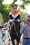 Garrett Gomez aboard Marketing Mix winner of the Rodeo Drive Stakes race at Santa Anita Park in Arcadia, California on September 29, 2012.