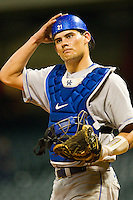 Catcher Luke Maile #21 of the Kentucky Wildcats on defense against the Rice Owls at Minute Maid Park on March 4, 2011 in Houston, Texas.  Photo by Brian Westerholt / Four Seam Images