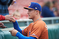 Durham Bulls designated hitter Richie Shaffer (9) signs autographs before a game against the Buffalo Bisons on June 13, 2016 at Coca-Cola Field in Buffalo, New York.  Durham defeated Buffalo 5-0.  (Mike Janes/Four Seam Images)