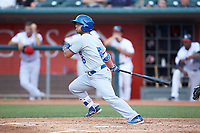Christian Donahue (5) of the South Bend Cubs follows through on his swing against the Lansing Lugnuts at Cooley Law School Stadium on June 15, 2018 in Lansing, Michigan. The Lugnuts defeated the Cubs 6-4.  (Brian Westerholt/Four Seam Images)