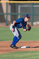 AZL Rangers second baseman Myles McKisic (2) prepares to catch a throw during an Arizona League game against the AZL Giants Black at Scottsdale Stadium on August 4, 2018 in Scottsdale, Arizona. The AZL Giants Black defeated the AZL Rangers by a score of 3-2 in the first game of a doubleheader. (Zachary Lucy/Four Seam Images)