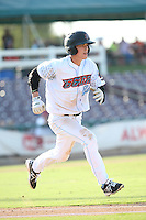 Hutton Moyer (20) of the Inland Empire 66ers runs to first base during a game against the Visalia Rawhide at San Manuel Stadium on June 26, 2016 in San Bernardino, California. Inland Empire defeated Visalia, 5-1. (Larry Goren/Four Seam Images)