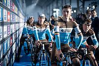 Oliver Naesen (BEL/AG2R-LaMondiale) at the Teams Presentation Start Show<br /> <br /> 75th Omloop Het Nieuwsblad 2020 (1.UWT)<br /> Gent to Ninove (BEL): 200km<br /> <br /> ©kramon