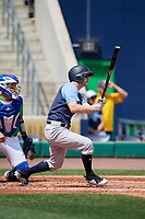 Trenton Thunder second baseman Bruce Caldwell (9) grounds into a fielder's choice and drives in a run during a game against the Hartford Yard Goats on August 26, 2018 at Dunkin' Donuts Park in Hartford, Connecticut.  Trenton defeated Hartford 8-3.  (Mike Janes/Four Seam Images)