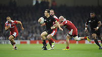 Ben Smith of New Zealand looks for support during Match 23 of the Rugby World Cup 2015 between New Zealand and Georgia - 02/10/2015 - Millennium Stadium, Cardiff<br /> Mandatory Credit: Rob Munro/Stewart Communications