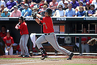 Ryan Long #7 of the Texas Tech Red Raiders bats during Game 3 of the 2014 Men's College World Series between the Texas Tech Red Raiders and TCU Horned Frogs at TD Ameritrade Park on June 15, 2014 in Omaha, Nebraska. (Brace Hemmelgarn/Four Seam Images)