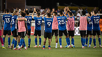 SAN JOSE, CA - JULY 24: San Jose Earthquakes players applaud the fans after a game between San Jose Earthquakes and Houston Dynamo at PayPal Park on July 24, 2021 in San Jose, California.