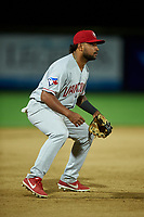 Vancouver Canadians third baseman Jesus Lopez (4) during a Northwest League game against the Tri-City Dust Devils at Gesa Stadium on August 21, 2019 in Pasco, Washington. Vancouver defeated Tri-City 1-0. (Zachary Lucy/Four Seam Images)