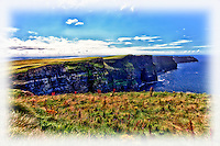 A photo art style view of the Cliffs of Moher in southwestern Ireland.
