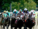 August 28, 2021: Yaupon #7, ridden by jockey Ricardo Santana Jr. enters the stretch to win the Grade 1 Forego Stakes at Saratoga Race Course in Saratoga Springs, N.Y. on August 28th, 2021. Dan Heary/Eclipse Sportswire/CSM