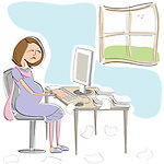 Pregnant businesswoman working at home